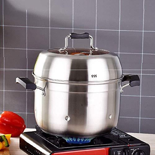 Multifuncional vapor de 3 gradas de acero inoxidable utensilios de cocina al vapor Pot Saucepot de múltiples capas de la caldera de vapor de cocina Inicio Pot establecidas for todos los Cocinar (Color