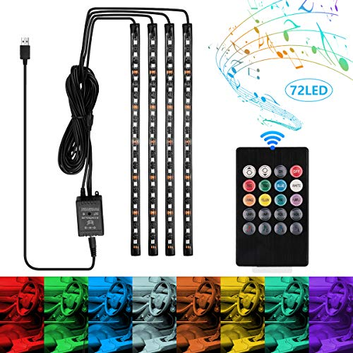 LED Innenbeleuchtung Auto, GROOFOO 4Pcs 72 LEDs Auto Ambientebeleuchtung RGB Fußraumbeleuchtung Wasserdicht Mehrfarbig Musik Innenraum Led Strip mit USB-Port und Fernbedienung