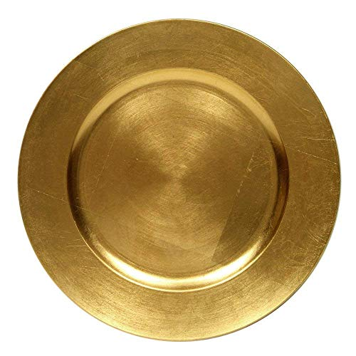 #1 Beautiful Luxurious Elegant Round Shiny Dinnerware 13' Charger Plates Wedding Christmas Anniversary Formal Charger Service Dining Entertaining Home Party Decor Holiday (6, Gold)