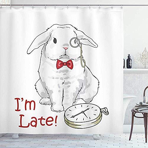 FANCYDAY Colección de Decoraciones de Alicia en el país de Las Maravillas, Divertido Conejo con Relojes de Dibujos Animados Alice Decor Character Fantasy, Blanco Rojo