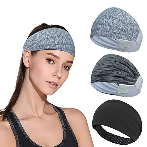DINIGOFIN Wide Sports Headbands for Women Non Slip Workout Headband Moisture Wicking Sweatband for Yoga Running Athletic Fitness,Black Stripe Gray White 3PCS