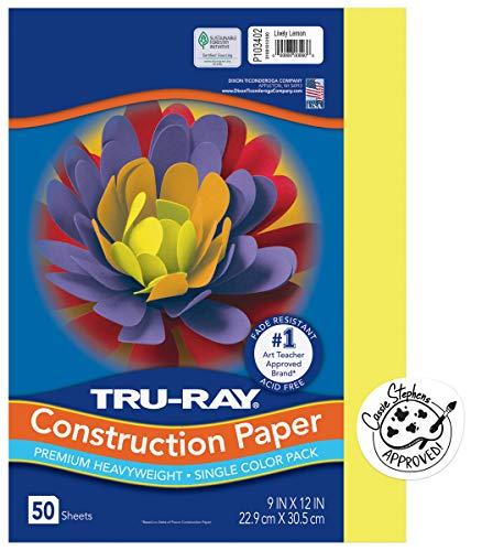 Tru-Ray Heavyweight Construction Paper, Lively Lemon, 9' x 12', 50 Sheets