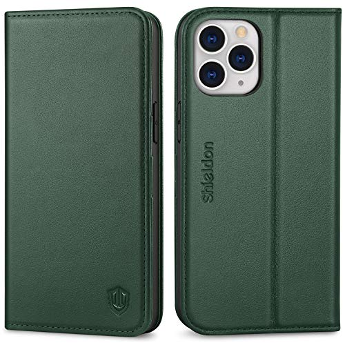 "SHIELDON Case for iPhone 12 Pro Max, Genuine Leather Wallet Case with Kickstand and RFID Blocking Card Slots Magnetic Closure Shockproof Case Compatible with iPhone 12 Pro Max (6.7"") - Midnight Green"
