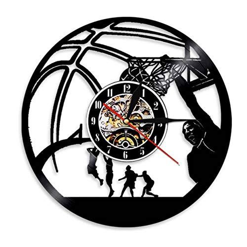 Mzjiaqir Basketball Spieler Slam Dunk Einhand Jam Clock Schallplatte Wanduhr Basketball Jump Slam Dunk Shot Sport Decor