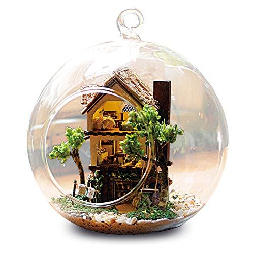Jacksing Casas de muñecas, casa de muñecas de Vidrio DIY Casa de muñecas Linda Miniatura Kit de casa de Bricolaje Creativo Kit de Modelo Hecho a Mano Regalo de Bricolaje