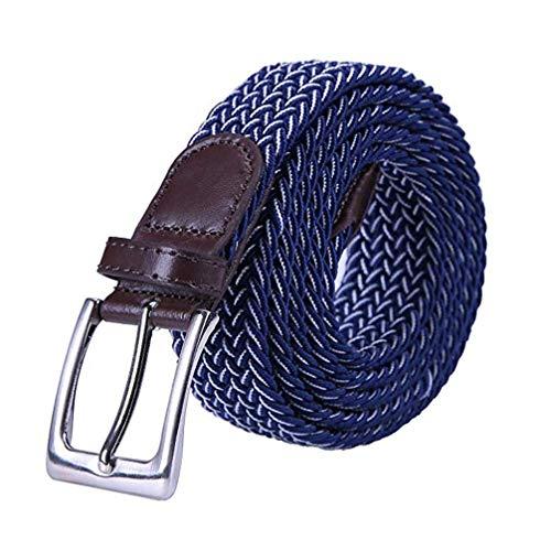 Yangbaga Cinturon elastico hombre, Cinturon Trenzado, Unisex Hombres Mujeres Casual Tejido (105-112cm) (Azul+blanco)