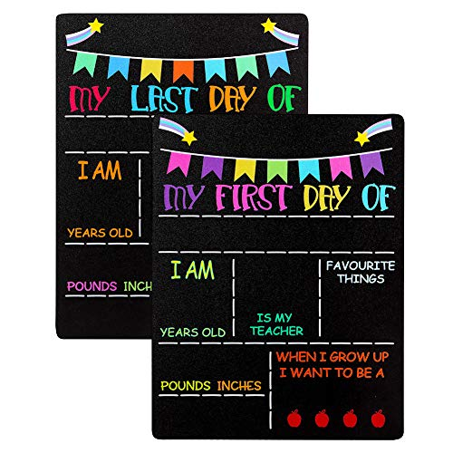 """Hohomark My First Day and Last Day of School Chalkboard Sign,9""""x12"""" First Day of School Chalkboard Sign Photo Prop Double Sided Back to School Board for Kids,Girls & Boys"""