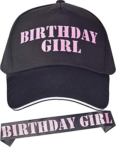 Birthday Girl Baseball Caps and Sash Pink, Funny Birthday Party Supplies and Decorations for Girls 16th, 18th, 21st, 25th, 30th, 35th, 40th, 45th, 50th, 55th, 60th, 65th, 70th, 75th, 80th, 85th, 90th