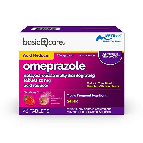 Amazon Basic Care Omeprazole Delayed Release Orally Disintegrating Tablets 20 mg Acid Reducer Strawberry Flavor 42 Count