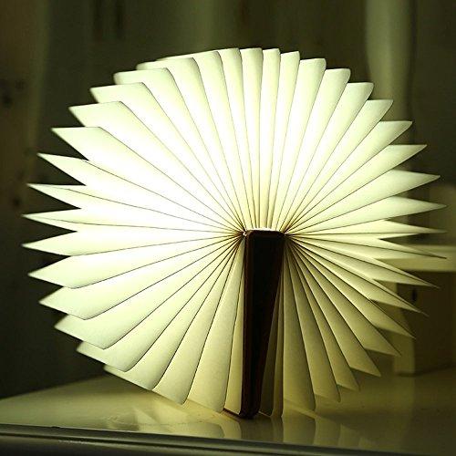 Noël décoratifs sans fil pliable veilleuse Booklight Lampe LED Marron Cuir Livre Lampe murale design Lampadaire avec câble USB
