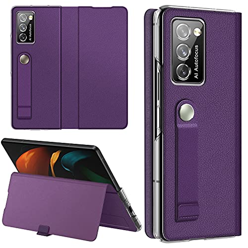 Vizvera kompatible Samsung Galaxy Z Fold 2 5G Hülle, Galaxy Z Fold 2 5G Lederhülle, Handschlaufe Halterung Hülle Superdünne, schlanke, langlebige Schutzhülle für Samsung Galaxy Z Fold 2 -Violet