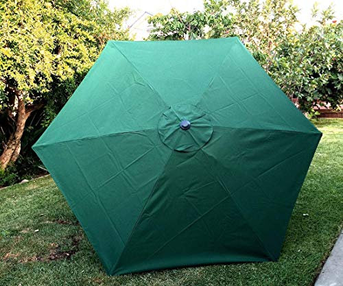 BELLRINO Decor Replacement Strong & Thick Patio Umbrella Canopy Cover for 7.5 ft 6 Ribs (Canopy Only) (GREEN-75)