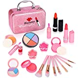 Biulotter 21pcs Kids Makeup Kit for Girls Real Kids Cosmetics Make Up Set with Cute Cosmetic Bag, Eyeshadow/Lip Gloss/Blush, Washable Play Makeup for Little Girls Xmas Birthday (Pink)