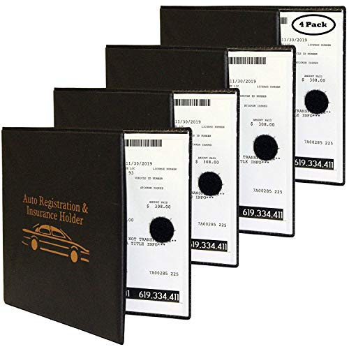 Auto Registration Insurance & ID Card Holder - 4 Pack - Perfect for Any Car, Truck, Motorcycle, Trailer or Boat - Strong Velcro Closure, Men & Women