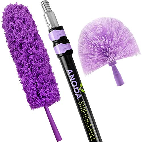 ANODA Cobweb Dusters for Cleaning Set and 12ft Telescoping Pole- Microfiber Feather Duster Spider Web Cleaner with Telescopic Handle