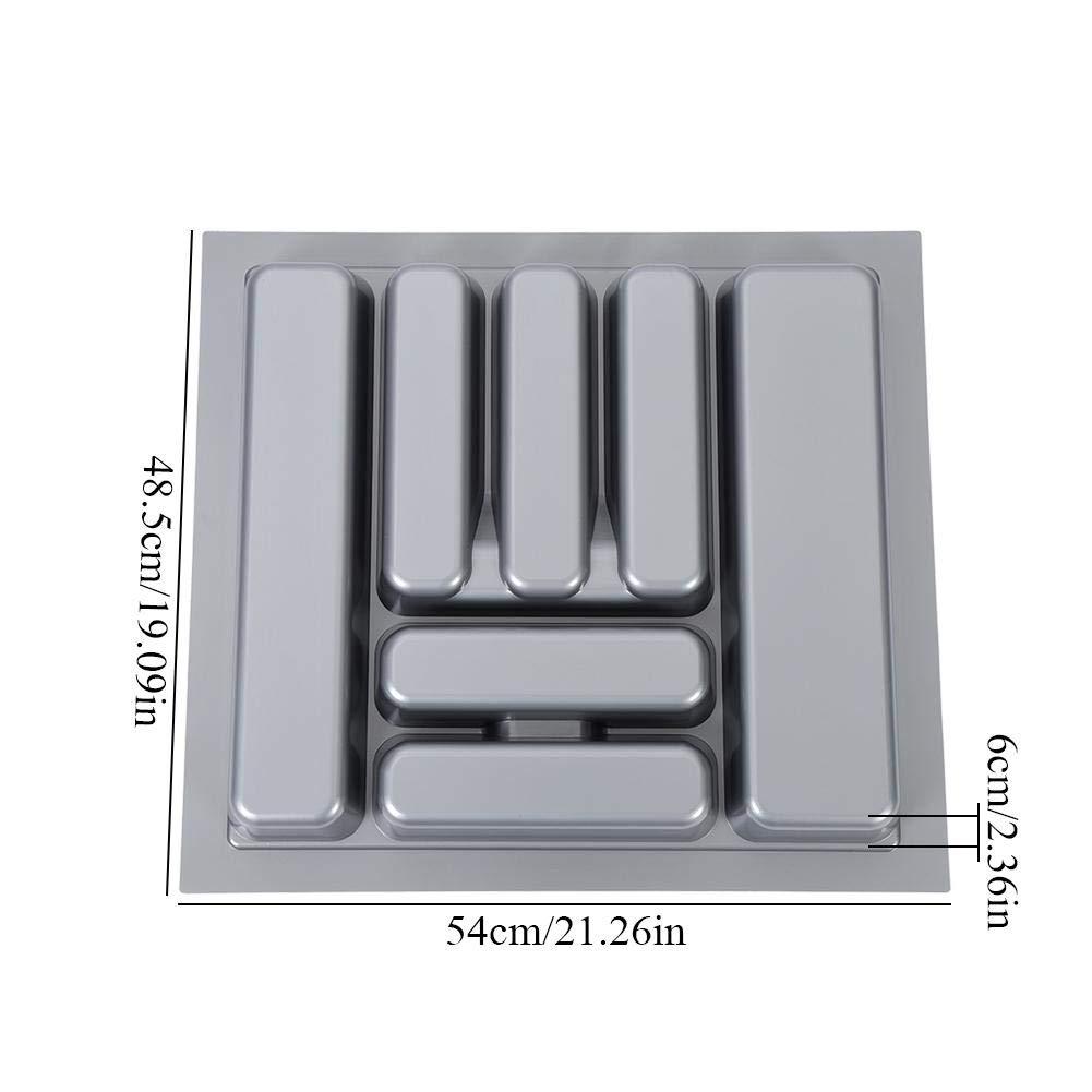 48 x 39 x 6 cm 400 mm Bandeja de Cubiertos de Caj/ón,Organizador de Cuchillos y Tenedores de 6 Compartimentos,Pl/ástico Gris
