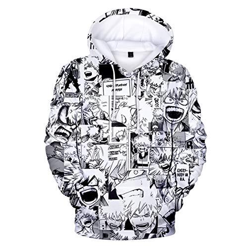 Sudadera con capucha para niños y niñas, diseño de anime My Hero Academia con capucha Boku No Hero Academia MHA para niños de 100 a 150 cm