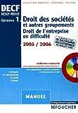 Droit des sociétés et autres groupements - Droit de l'entreprise en difficulté (1Cédérom)