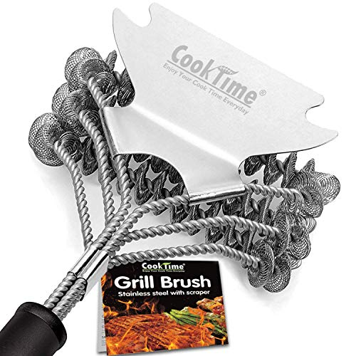 Cook Time Safe Grill Brush - Bristle Free BBQ Grill Cleaner/Scraper - 18'' Stainless Steel Grill Cleaning Scrubber,Great BBQ Accessories for Clean All Grill Grates