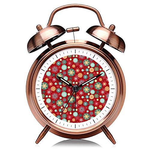 GIRLSIGHT Reloj de Navidad de cobre retro silencioso con luz de noche doble campana despertador 053.Christmas Colores rojo y verde copo de nieve patrón reloj despertador