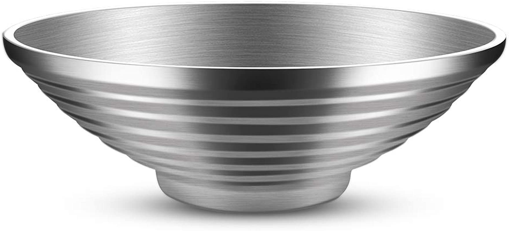 Salad Bowl Double Wall 10 Inch 47 OZ Stainless Steel Multipurpose Serving Bowl For Soup Cooked Food Fruit Noodle Cereal Salad Bowl