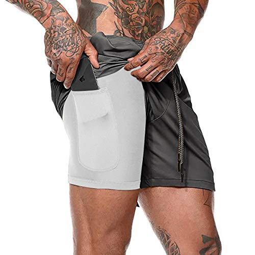 Rave on Friday Herren Sport Shorts 2 in 1 Trainingshose Sommer Kurze Hosen Atmungsaktiv Laufshorts Running Gym Sporthose mit Taschen Grau L