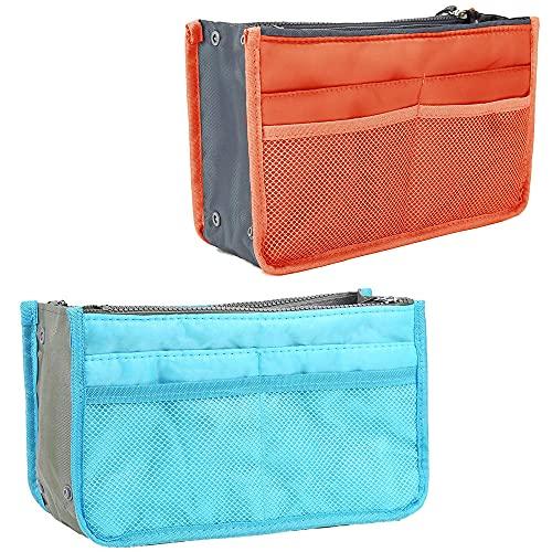 2 Stück Handtaschen-Organizer, Kosmetik Organizer Geldbörse, Kosmetik-Reisetasche für Damen, Damen-Reise-Einsatz-Handtasche mit Griffen Reißverschluss, für Zuhause, Reiseaufbewahrung (Blau+Orange)