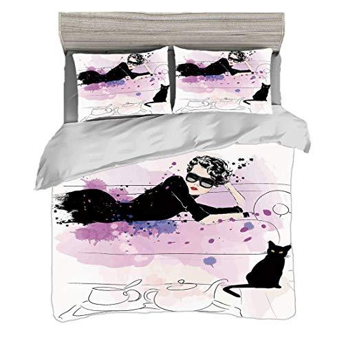 Funda nórdica Super King Size (220 x 240cm) con 2 fundas de almohada Decoración de moda Juegos de cama de microfibra Chica con gafas de sol tumbada en el sofá Cat Elegance en Home Theme con manchas,ne