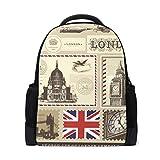LUPINZ Vector Set de mochila básica con patrón de símbolo de Londres para ordenadores portátiles y mochila de senderismo