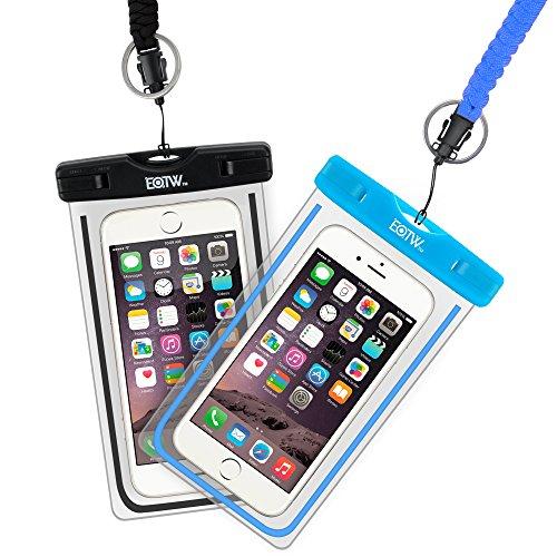 EOTW 2 Stück wasserdichte Handy Hülle, Wasser- & staubdichte Hülle für iPhone, Samsung, Nexus, HTC & mehr, Super Hülle für den Strand & Wassersport (Schwarz+Blau)