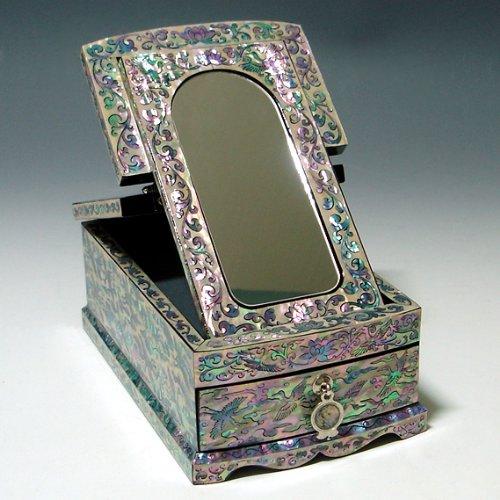 Décoratif incrusté de nacre Grue Design Laqué en bois fabriqué à la main Art Asiatique Miroir Boîte Souvenir à bijoux Trésor Bijoux Cas poitrine organisateur