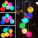 AceList Color Changing Solar Power Wind Chime Crystal Ball Wind Chime Wind Mobile Portable Waterproof Outdoor Windchime Light for Patio Yard Garden Home