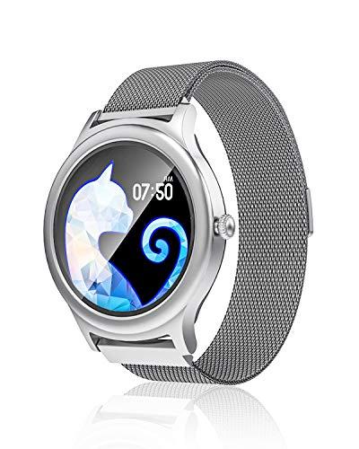 Smartwatch für Frauen, BlitzWolf Voll-Touchscreen Smartwatch Fitness Tracker Uhr mit Herzfrequenzmesser Schlafmonitor SMS-Anrufbenachrichtigung Schrittzähler für Android iOS (Silber)