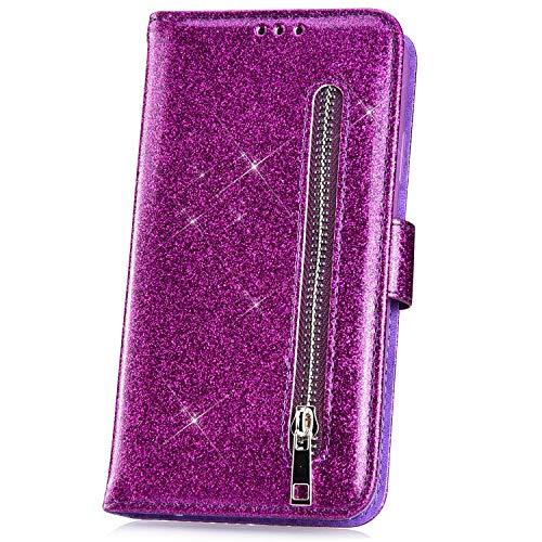JAWSEU Kompatibel mit Samsung Galaxy J4 Plus Hülle Bling Glitzer Hülle Leder Flip Case Tasche Handyhülle Glänzend Diamant Lederhülle Brieftasche Wallet Schutzhülle Handytasche Ständer,Lila