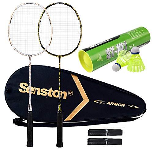 Senston S300 Haute Qualité supérieur Set de Raquettes Badminton Pleine Carbone Raquettes Bonne stabilité- 2 Raquette, 2 surgrips et 6 pcs Volants en Nylon Balles