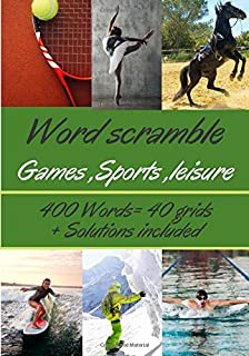 Word scramble game,sports,leisure: activity book | Shuffleboard 40 grids | 400 words to find | Large font on the theme gam...