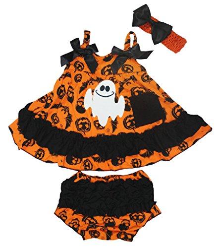 Petitebelle Ghost Batte de citrouille Orange Couvercle basculant bloomer Ensemble de pantalon pour bébé Nb-24 m - Marron - M