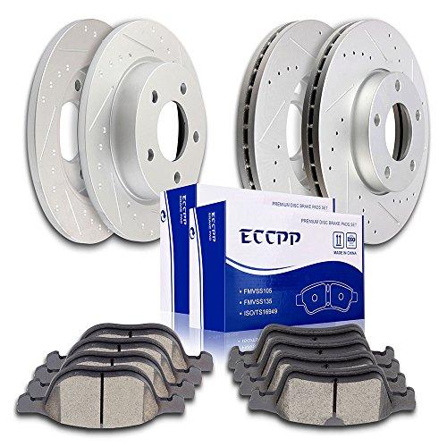 Brake Rotors Brakes Pads Kits,ECCPP 4pcs Front Rear Discs Brake Rotors and 8pcs Ceramic Disc Brake Pads Set for 2008 2009 2010 2011 2012 2013 for Mazda 3