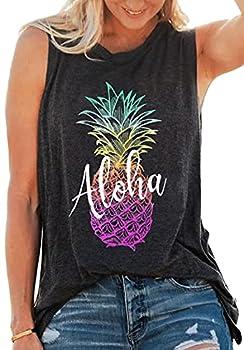 Aloha Beaches Pineapple Shirt Tank Tops Women Sleeveles Funny Graphic Tee Shirts Summer Vacation Tops  Grey Large