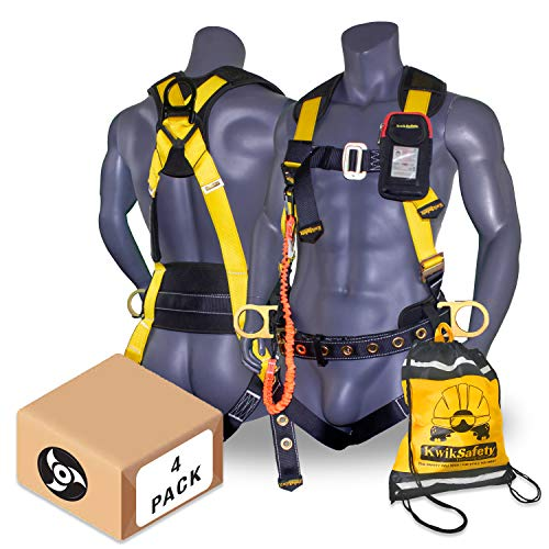KwikSafety (Charlotte, NC) TYPHOON (4 PACK) ANSI Fall Protection Full Body Safety Harness Personal Protective Equipment Dorsal Ring Side D-Rings Grommet Leg Straps Tool Lanyard Bolt Pouch Construction
