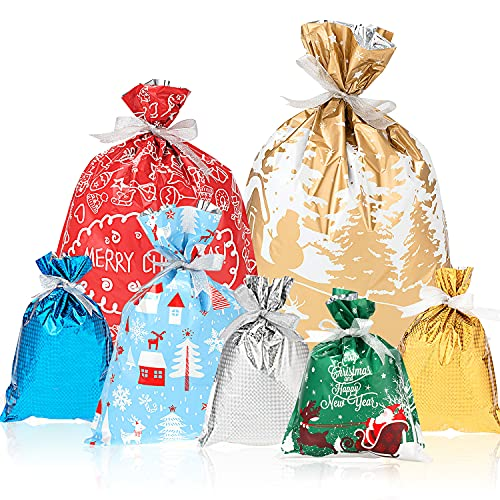 Whaline 35pcs Christmas Wrapping Bags Holiday Treats Bags Pouch Goody Bags with 25 Yard Ribbon for Birthday and Christmas Party Favor