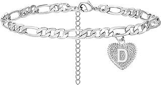 Dcfywl731 Heart Initial Bracelets for Women Gifts - Engraved 26 Letters Initial Charms Bracelet Cuban Link Bracelet Birthd...