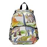 RELEESSS - Mochila con diseño de dinosaurio con correa en el pecho, mochila escolar para niños y niñas