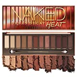 Urban Decay Naked Heat Eyeshadow Palette, 12 Fiery Amber Neutral Shades - Ultra-Blendable, Rich Colors with Velvety Texture - Set Includes Mirror & Double-Ended Makeup Brush