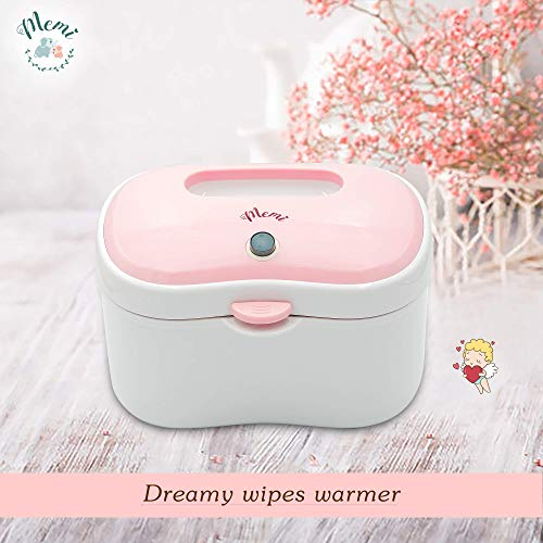 (Upgraded) MEMI Dreamy Wipes Warmer | Holder | Easy-USE | Perfect Gift |(Pink Rose))