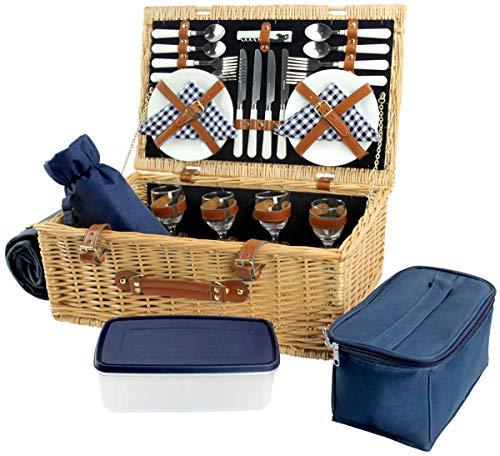 HappyPicnic - Cesta de mimbre para picnic (4 unidades), diseño de sauce, color azul