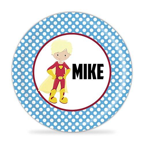 Superhero Plate - Blue Polka Dots Boy Hero Melamine Personalized Name Gift