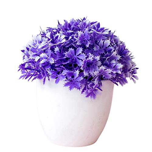 Plantas artificiales, flores artificiales, flores artificiales, plantas de pino artificial, mitad jazmín, bonsái, plantas en maceta, decoración del hogar, adornos creativos, color azul