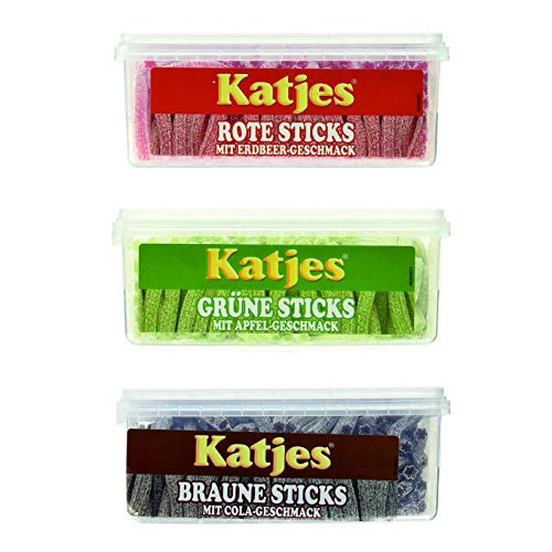 Katjes Sticks 3er Pack Apfel, Erdbeere, Cola (3 x 1400g) braune Sticks grüne Sticks rote Sticks