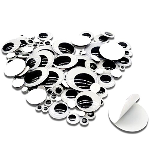 TOAOB 100 Pieces 6mm to 35mm Assorted Size Mixed Plastic Wiggle Googly Eyes with Self Adhesive DIY Scrapbooking Crafts Toy Accessories